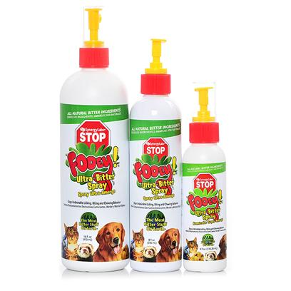 Buy Chew Stop for Cats and Dogs products including Synergy Fooey Ultra-Bitter Spray Sny 16oz, Synergy Fooey Ultra-Bitter Spray Sny 4oz, Synergy Fooey Ultra-Bitter Spray Sny 8oz Category:Housebreaking Price: from $4.99