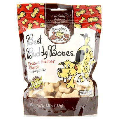 Exclusively Pets Presents Buddy Bones Flavor 5.5oz Peanut Butter-5.5oz. Dogs will Love Fetching Best Buddy Bones! A Miniature Bone-Shaped Cookie with Texture that is not Too Hard or Too Soft. Great for Training Medium to Large Size Dogs and a Perfect Size to Serve as a Treat. Miniature Bone-Shape with the Great Taste of Peanut Butter. Made with Human-Grade and Kosher Ingredients. Free of Animal Proteins, Parts, Bi-Products and Fillers. 5.5oz Package [20555]