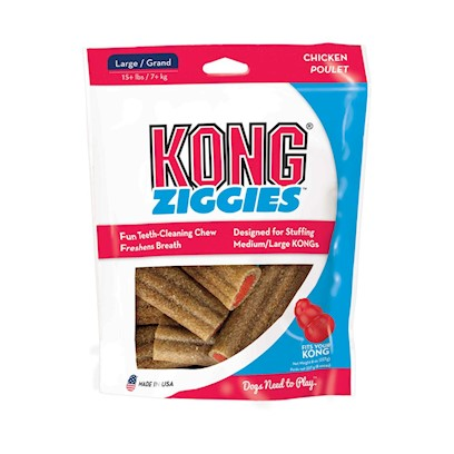 Kong Company Presents Kong Stuff'n Ziggies Small-6oz. The Healthy Treat for Adult Dogs. Ziggies are Specially Formulated for Adult Dogs. Our Hypoallergenic Formula Contains no Wheat or Gluten. This Deliciously Chewy Treat is Reliably Safe and Highly Digestible. Freshens Breath and Cleans Teeth. Last Twice as Long as the Leading Chew Treat when Used with Classic and Extreme Kong Toys. Case Pk. 24 [20588]
