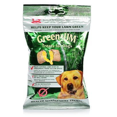Mark and Chappell Presents Green Um Treats for Dogs and Cats 2.4oz. Green-Um Treats are Formulated with Yucca, a Natural Plant Extract, to Help Prevent Lawn Burn. 70g Resealable Foil Pack [20606]