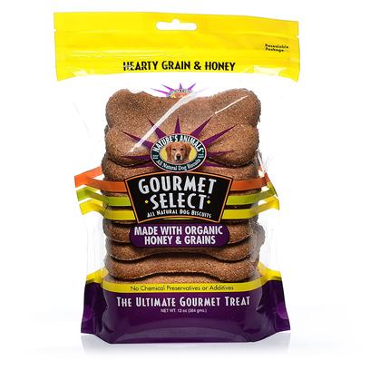 Nature's Animals Presents Gourmet Select Organic Bone Shape Cookies Hearty Grain &amp; Honey 13oz. Nature's Animals Gourmet Select Organic Mini Bones Feature our Popular Gourmet Select Organic Flavors in a Miniature Bone Shape and are Sold in Resealable 7-Ounce Bags. Delicious Flavors Include Hearty Grain &amp; Honey, Peanut Butter &amp; Carob, and Carrot Crunch. Organic Foods are Produced without the Use of Herbicides, Pesticides or Artificial Fertilizers, are not Irradiated and do not Contain Chemical Additives or Preservatives. The Growing of Organic Food is Based on a System of Feeding and Farming that Mimics Natural Ecosystems and Maintains and Replenishes Nutrients in the Soil. Gourmet Select Organic's Food Ingredients have been Grown and Handled According to Strict Organic Standards that are Enforced by Independent Third-Party State or Private Organizations. Gourmet Select Conforms and Meets the Requirements for Organic Foods and is Certified Organic by Quality Assurance International. Ingredients Organic Whole Wheat Flour, Organic Wheat Bran, Organic Barley Malt, Organic Honey, Organic Brown Rice, Corn Oil, Organic Parsley, Organic Garlic and Preserved with Mixed-Tocopherols (Source of Vitamin E). [20611]
