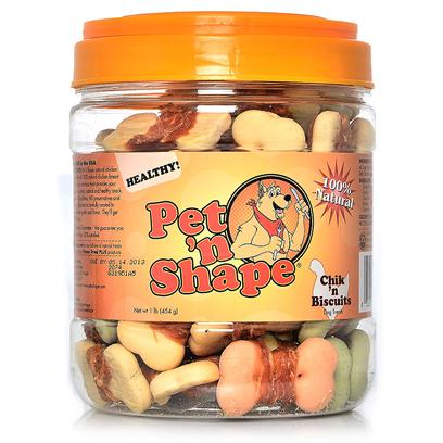 Pet 'N Shape/Pet Ventures Presents Chik N Biscuits 16oz. These Tasty Biscuits are Wrapped with Natural Chicken. The Biscuits are Made with Green Tea Extract. They Smell Great! Ingredients Chicken, Wheat Flour, Vegetable Oil, Sugar, Starch, Milk Guaranteed Analysis Crude Protein Min 27.0%, Crude Fat Min 8.2%, Crude Ash Max 1.7%, Crude Fiber Max 0.2%, Moisture Max 18.0%, Calories/3.5oz 220 Resealable Canister Low Fat, Low Calories, Low Cholesterol, High Protein no Additives, no Preservatives, no Coloring [20629]