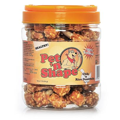 Pet 'N Shape/Pet Ventures Presents Chik N Dumbbells 8oz. These Favorites are Made with 100% Natural Chicken with Rice on a Natural Rawhide Munchie Stick. The Rawhide is Free of any Bleaches or Formaldehyde, Making it a Longer-Lasting Natural Crunchy Treat. Ingredients Chicken, Cowhide, Rice Guaranteed Analysis Crude Protein Min 65.0%, Crude Fat Min 1.0%, Crude Ash Max 4.0%, Crude Fiber Max 1.5%, Moisture Max 18.0%, Calories/3.5oz 230 Resealable Bag Low Fat, Low Calories, Low Cholesterol, High Protein no Additives, no Preservatives, no Coloring [20636]
