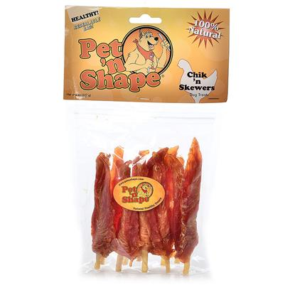 Pet 'N Shape/Pet Ventures Presents Chik N Skewers 4oz. These Unique Treats are Made with 100% Natural Chicken Breast Fillets on a Natural Rawhide Chew. This Longest Lasting Treat is also Great for Dogs' Teeth! Ingredients Chicken, Cowhide Guaranteed Analysis Crude Protein Min 70.0%, Crude Fat Min 1.0%, Crude Ash Max 4.5%, Crude Fiber Max 0.5%, Moisture Max 18.0%, Calories/3.5oz 300 Resealable Bag Low Fat, Low Calories, Low Cholesterol, High Protein no Additives, no Preservatives, no Coloring [20644]