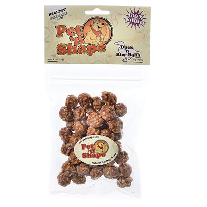 Pet 'N Shape/Pet Ventures Presents Duck N Rice Balls Pns 8oz. The Innovation of 100% Natural Duck Fillets Coupled with Time-Tested White Rice Formed into a Crunchy Ball. A Great Treat for Dogs of all Sizes! Ingredients Duck Breast, Rice Guaranteed Analysis Crude Protein Min 51.0%, Crude Fat Min 2.2%, Crude Fiber Max 0.25%, Crude Ash Max 3.5%, Moisture Max 18.0%, Calories/3.5oz 310 Resealable Bag Low Fat, Low Calories, Low Cholesterol, High Protein no Additives, no Preservatives, no Coloring [20648]