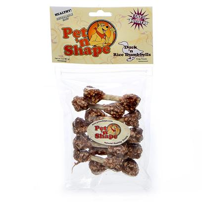 Pet 'N Shape/Pet Ventures Presents Duck N Rice Dumbbells 3oz. These Treats are Adored by Dogs and by their Owners. Natural Duck Breast Fillets with Rice on a Natural Rawhide Munchie Stick. A Fun, Easily Digested Crunch for all Dogs. Ingredients Duck Breast, Rice, Cowhide, Soybean Albumen Guaranteed Analysis Crude Protein Min 60.0%, Crude Fat Min 2.1%, Crude Fiber Max 0.25%, Crude Ash Max 2.2%, Moisture Max 18.0%, Calories/3.5oz 290 Resealable Bag Low Fat, Low Calories, Low Cholesterol, High Protein no Additives, no Preservatives, no Coloring [20650]