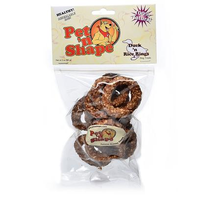Pet 'N Shape/Pet Ventures Presents Duck N Rice Rings 3oz Pns. These Rings are Easy to Digest because they are Made with 100% Natural Duck Fillets with White Rice. A Fun and Playful Duck Treat. Great for Small Dogs! Ingredients Duck Breast, Rice Guaranteed Analysis Crude Protein Min 51.0%, Crude Fat Min 2.2%, Crude Fiber Max 0.25%, Crude Ash Max 3.5%, Moisture Max 18.0%, Calories/3.5oz 310 Resealable Bag Low Fat, Low Calories, Low Cholesterol, High Protein no Additives, no Preservatives, no Coloring [20651]