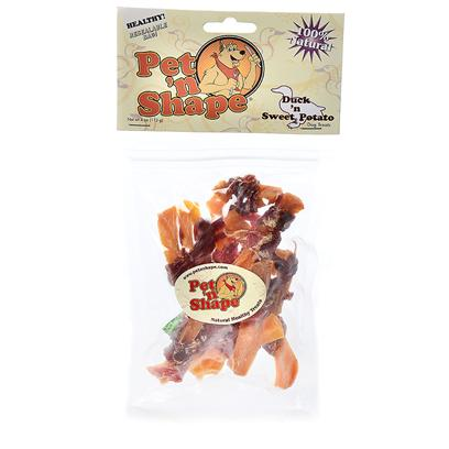 Pet 'N Shape/Pet Ventures Presents Duck N Sweet Potato 4oz. These Crunchy and Chewy Treats Provide a Delicious Snack that Dogs Love, while Providing Vitamins and Minerals for a Shiny Coat that Dog Owners Enjoy. Pet 'N Shape Natural Duck Treats are Made from 100% Natural Duck Fillets. Each Highly Nutritious Treat Provides your Dog with a High-Protein, Low-Fat, Natural and Healthy Snack. They Contain no Additives, no Preservatives and no Coloring. Each Treat is Carefully Roasted to Ensure the Ultimate Quality and Flavor. Great for Dogs with Sensitive Stomachs! Theyll Get your Pet N Shape! Ingredients Duck Breast, Sweet Potato [20653]