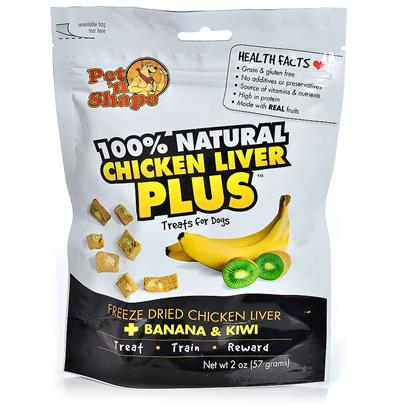 Pet 'N Shape/Pet Ventures Presents Freeze Dried Chicken Liver Plus 2oz Banana & Kiwi. Pet 'N Shape Liver Plus Treats are 100% Natural and are Feeze Dried to Preserve the Aroma, Full Flavor, and Complete Nutritional Value Found in Chicken, Liver, Fruits & Vegetables. They are Rich in Protein, Vitamins and Nutrients, and Make for a Healthy Snack to Treat, Train, and Reward your Dog. Made with Real Fruits & Vegetables. Grain & Gluten Free. No Additives or Preservatives. Source of Vitamins & Nutrients. High in Protein [20656]