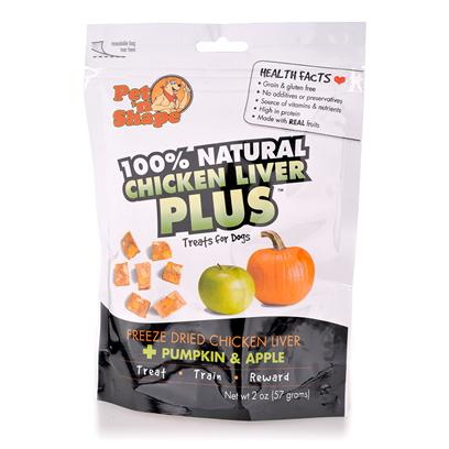 Pet 'N Shape/Pet Ventures Presents Freeze Dried Chicken Liver Plus Pumpkin &amp; Apple 20z Pum. Pet 'N Shape Liver Plus Treats are 100% Natural and are Feeze Dried to Preserve the Aroma, Full Flavor, and Complete Nutritional Value Found in Chicken, Liver, Fruits &amp; Vegetables. They are Rich in Protein, Vitamins and Nutrients, and Make for a Healthy Snack to Treat, Train, and Reward your Dog. Made with Real Fruits &amp; Vegetables. Grain &amp; Gluten Free. No Additives or Preservatives. Source of Vitamins &amp; Nutrients. High in Protein [20657]