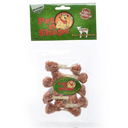 Pet 'N Shape/Pet Ventures Presents Lamb N Rice Dumbbells-3oz 3oz. These Favorite, Fun and Playful Treats Provide an Alternate Protein for Dogs with Astute Tastes and Playful Dispositions. Pet 'N Shape Natural Lamb Treats are Made with 100% Natural Lamb Meat. Each Highly Nutritious Treat Provides your Dog with a Natural and Healthy Snack. They have no Wheat, no Corn and no Soy and have no Artificial Colors or Flavors. Each Treat is Carefully Roasted to Ensure the Ultimate Quality and Flavor. They'll Get your Pet N Shape! 100% Satisfaction Guarantee - we Guarantee you and your Pet will be 100% Satisfied. Ingredients Lamb Meat, Brown Rice, Cowhide [20658]