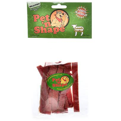 Pet 'N Shape/Pet Ventures Presents Lamb Strips 3oz Pns. These Snacks are Soft in Consistency and Texture, which Makes Dogs Crave their Taste and Owners Enjoy their Natural and Healthy Properties. Pet 'N Shape Natural Lamb Treats are Made with 100% Natural Lamb Meat. Each Highly Nutritious Treat Provides your Dog with a Natural and Healthy Snack. They have no Wheat, no Corn and no Soy and have no Artificial Colors or Flavors. Each Treat is Carefully Roasted to Ensure the Ultimate Quality and Flavor. They'll Get your Pet N Shape! 100% Satisfaction Guarantee - we Guarantee you and your Pet will be 100% Satisfied. Ingredients Lamb Meat, Glycerin, Potato Starch [20659]