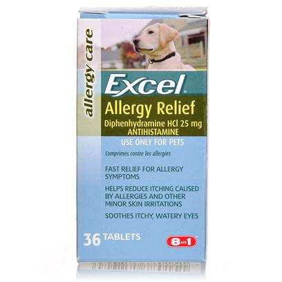 8 in 1 Presents Excel Allergy Relief for Pets 36 Tablets. Relieves Allergy Symptoms  Fast-Acting Formula  Safe and Effective.May be Given Daily  Coated Tablets.Easy on the Stomach  Same Active Ingredient as Leading Allergy Remedy in Human Market  also Ideal for Symptoms Associated with Insect Bites [20682]