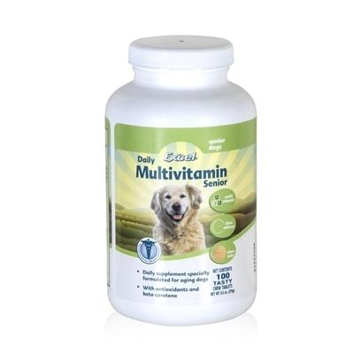 8 in 1 Presents Excel Senior Multi Vitamin for Dogs 8in1 100. Senior Dogs may not Always Get all of the Nutrition that they Need Simply from their Dog Food. Excel Vitamin for Senior Provides the Correct Balance of Vitamins and Minerals Essential for Senior Dogs. Maintains Healthy Fur Coat. It Comes as a Tasty, Chewable Tablet that they will Think is a New Treat. . [20686]