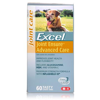 8 in 1 Presents Excel Joint Ensure Advance Care/Stage 3-60 Tabs Stage Chew. Joint Ensure Advanced Care is Ideal for Severe Symtoms, Including Persistent and Chronic Stiffness and Discomfort. This Maximum Strength Formula Contains Glucosamine, Msm, Vitamin C, Chondroitin and Inflashield-10. [20690]