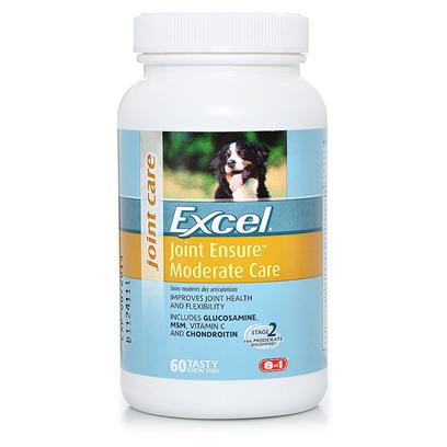 8 in 1 Presents Excel Joint Ensure 60 Tabs. Joint Ensure Moderate Care is Ideal for Moderate Syptoms Seen on a Regular Basis, Including Limping and Avoidance of Stairs. This Formula Contains Glucosamine, Msm, Vitamin C and Chondroitin. [20691]