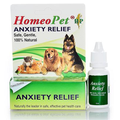 Homeopet Presents Homeopet Anxiety Relief Drops. Homeopathic Ingredients in a Water/Alc Base. Promotes a Sense of Calm in Animals Exhibiting Fear,Fretting,Anxiety or any Unwanted Behavior Caused by Being Left Alone/Separation,Kenneling,Shows,Vet Visits,Grooming Give 3 Doses Daily in Mouth or in Water by Weight. Safe for all Dogs,Puppies,Cats,Kittens,Birds,Rabbits,Hamsters,Ferrets,Pot Bellied Pigs. [20710]