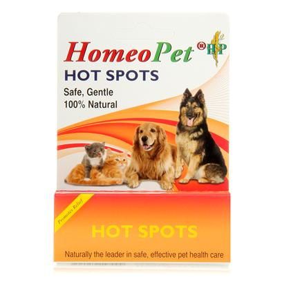 Homeopet Presents Homeopet Hot Spots Drops Spot. Homeopathic Ingredients in a Water/Alc Base. Give 3 Doses Daily in Mouth or in Water by Weight. Safe for all Dogs,Puppies,Cats,Kittens,Birds,Rabbits,Hamsters,Ferrets,Pot Bellied Pigs. Provides Relief to Hot Spots that are Red , Oozing, Dry or Flaky. Promotes Hair Growth where Hair Loss Occurred from Chewing and Licking the Hot Spot Area. [20716]