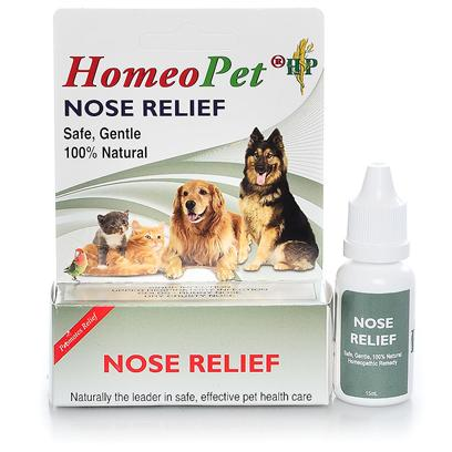 Homeopet Presents Homeopet Nose Relief Drops. Homeopathic Ingredients in a Water/Alc Base. Give 3 Doses Daily in Mouth or in Water by Weight. Safe for all Dogs,Puppies,Cats,Kittens,Birds,Rabbits,Hamsters,Ferrets,Pot Bellied Pigs. Reduces Upper Respiratory Problems Including Sinus Infection and Inflammation. Alleviates Red, Wet Eyes and Nasal Drip [20719]