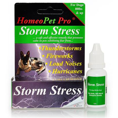 Homeopet Presents Homeopet Stress Large Dogs 80lb+. Works Effectively on Stress and Fear Associated with Thunderstorms, Wind Storms or Loud Noises. Formulated Specifically for Dogs under 20 Pounds. Works Within 5 to 10 Minutes in Most Cases. Stops Hiding, Barking, Panting, Shaking, or Clinging as a Result of the Storm. Shown to be over 95% Effective Even when the Storm has Come. Will not Drug or Change Animals Personality, just Relieves the Fear. Will not Interact with any Other Medication. Patent Pending. [20727]