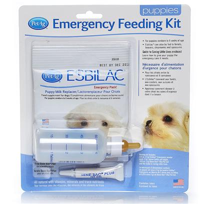 Petag Presents Esbilac Emergency Feeding Kit. Everything Needed to Nurse an Orphan Puppy. Kit Contains 3/4 Oz. Pouch of Esbilac Powder, 2 Oz. Nurser Bottle, Bene-Bac Single Dose Tube to Relieve Puppy's Intestinal Distress and a Brochure on how to Care and Feed your Orphan Animal. Esbilac is a Complete Food Source for Orphaned or Rejected Puppies or Those Nursing, but Needing Supplemental Feeding. Esbilac is a Complete Diet for Puppies Fortified with Vitamins and Minerals. Esbilac's Life Saving Formula Closely Matches Bitch's Milk in Protein and Energy and has Set the Standard in Canine Neonatal Nutrition for over 70 Years. Powder Formula is Easy to Mix with Water. 3/4 Oz. Pouch Reconstitutes to 5 Oz. Of Liquid Formula [20759]