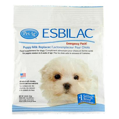 Petag Presents Esbilac Puppy Milk Replacer Emergency Packs/Bag 3/4oz. All Natural, no Preservatives, Made in the Usa. A Complete Food Source for Orphaned or Rejected Puppies or Those Nursing, but Needing Supplemental Feeding. Also Recommended for Growing Puppies or Adult Dogs that are Stressed and Require a Source of Highly Digestible Nutrients. Esbilac is a Complete Diet for Puppies Fortified with Vitamins and Minerals. Esbilac's Life Saving Formula Closely Matches Bitch's Milk in Protein and Energy and has Set the Standard in Canine Neonatal Nutrition for over 70 Years. Powder Formula is Easy to Mix with Water. 5 Lb [20761]