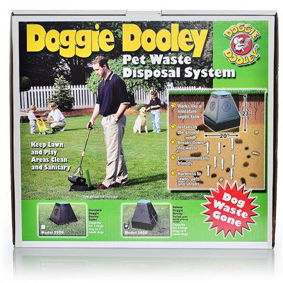 Huron/Hueter Toledo Presents Hueter Deluxe Doogie Dooley-Plastic (Knockdown) Doggie. This is an Easier Way to Keep your Yard Free from Dog Waste. The Doggie Dooley Installs into the Groung and then Operates Like a Septic Tank by Using Bacteria Action to Liquefy Pet Waste for Ground Comsumption. Digestive Action Works Best at 40 Degrees or Above.Model 3500-has a Pryramid Shaped Plastic Tank with the Capacity for 1 Large or 2 Small Dogs.Model 3800-is the Same as the 3500 with an Added Extension for Up to 4 Large Dogs. Both Come with a Foot-Operated Lid, 8 Oz. Of Digester and a Free Scoop. [20839]