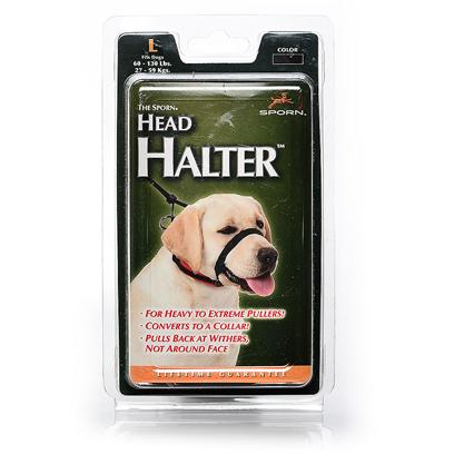 Sporn Pet Presents Sporn Large Head Halter-Black. You Love Being Outside with your Dog, Except when she Pulls your Arm out of the Socket! The Sporn Head Halter is Made for Extreme Pullers. When she Pulls, it Pulls Back from the Withers, not the Face, so you don't have to Worry that she'll be Uncomfortable. The Halter doesn't have a 'Muzzle' Look and Converts to a Collar. It's Recommended by Trainers and Vets, so you Know it Works. Don't Dread Walks with your Beloved Pet. Enjoy Them! [20908]