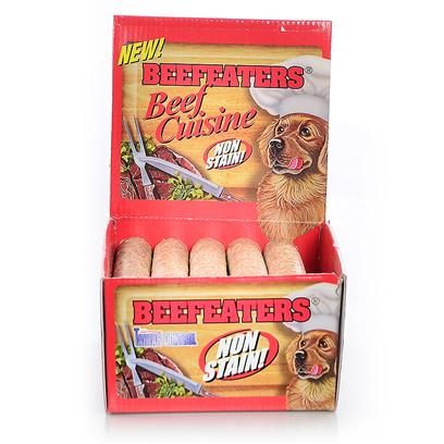 "Beefeaters Presents Beef Stix 3/4x5' - 52 Box. ""These Extruded Rawhide Stix are Made Using our Exclusive, Non-Stain Process from the Highest Quality Rawhide Available. Helps Reduce Tartar & Massages Gums."" [20933]"
