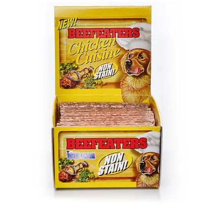 Beefeaters Presents Beefeaters Chicken Cuisine 3/4x5' - 52 Box. &quot;These Extruded Rawhide Stix are Made Using our Exclusive, Non-Stain Process from the Highest Quality Rawhide Available. Helps Reduce Tartar &amp; Massages Gums.&quot; [20936]