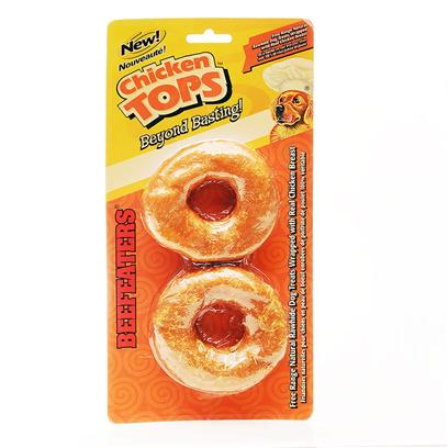 Beefeaters Presents Chick N Top Compressed Donut 3.5' - 2 Pack. Free Range Natural Rawhide Dog Treats Wrapped with Real Chicken Breast. Satisfies your Dog's Natural Craving to Chew. Made from the Finest Quality Ingredients Available. Chicken and Rawhide a Great Tasty Combination. Like all Beefeaters Rawhide, Chicken Tops are Fully Digestible. The Chicken Gives your Dog a Tasty Natural Treat, while the Rawhide Offers a Long, Satisfying Chew! Chicken Tops Beyond Basting! End 011985044507 Beefeaters Chicken Tops - 10pk 5&quot; Rawhide Rolls Covered with Chicken Free Range Natural Rawhide Dog Treats Wrapped with Real Chicken Breast. Satisfies your Dog's Natural Craving to Chew. Made from the Finest Quality Ingredients Available. Chicken and Rawhide a Great Tasty Combination. Like all Beefeaters Rawhide, Chicken Tops are Fully Digestible. The Chicken Gives your Dog a Tasty Natural Treat, while the Rawhide Offers a Long, Satisfying Chew! Chicken Tops Beyond Basting! [20952]