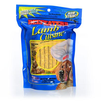 Beefeaters Presents Beefeaters Lamb and Rice Rawhide Flavored Munchy Sticks for Dogs 5'. Beefeaters Munchy Sticks Lamb & Rice Cuisine for Dogs were Formulated with your Dog in Mind. Consisting of 100% Natural Ingredients, there are no Preservatives, Artificial Flavors or Colors in these 5 Inch Long Rawhide Sticks. As they Satisfy the Dog's Chewing Needs, they also Keep their Teeth Clean and Strong while Preventing Tartar Buildup. Beefeaters Munchy Sticks will Keep your Dog Happy and Healthy. Used by Top Quality Trainers, these 100% Natural, Non-Staining Treats Contain no Fillers, Glues, Preservatives, Artificial Flavors or Colors. They Satisfy your Dog's Chewing Needs while Helping Keep their Teeth Clean and Strong. [20979]