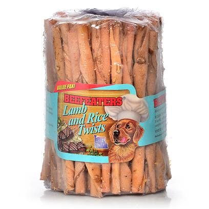 "Beefeaters Presents Lamb and Rice Twists-75pk 75 Pack. ""Made Using our Exclusive, Non-Stain Process from the Highest Quality Rawhide Available. Has Bits of Rice on the Bone. Helps Reduce Tartar & Massages Gums. "" [20980]"