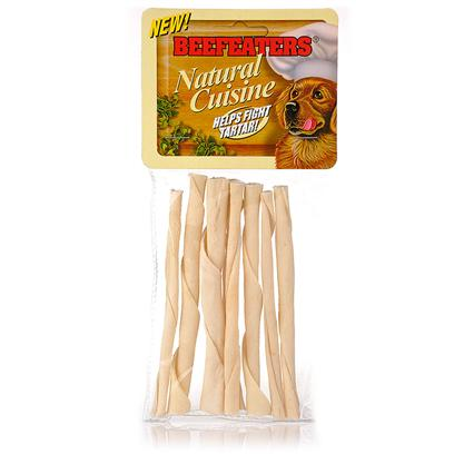 "Beefeaters Presents Beef Natural Twists 75 Pack. ""Made from 100% Highest Quality Natural Rawhide Available. No Artificial Preservatives, Colors, or Flavors Added. Helps Reduce Tartar & Massages Gums."" [20982]"