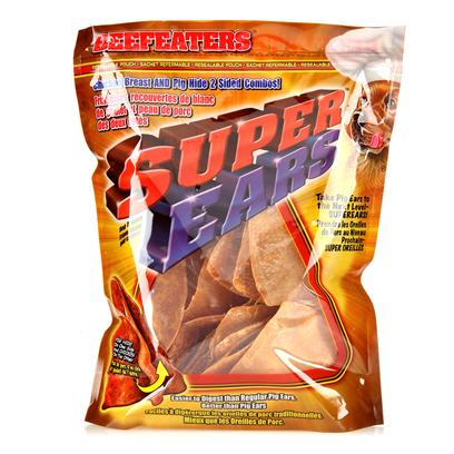 Beefeaters Presents Beef Super Ears 2.5' - 10 Pack. Beefeaters Pig Hide with Chicken Meat on Top, Ear Shaped. [20984]