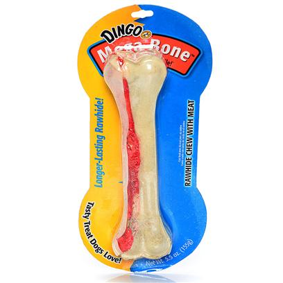 Dingo Brand Presents Dingo Mega Bone with Meat in the Middle-White Large-8.5'. Power Chewer's Delight Real &quot;Meat in the Middle&quot; Chicken Jerky Hand-Rolled in Rawhide. Irresistible! Dingo Brand's One-of-a-Kind Rawhide Chews are so Unique they're Patented! Hand-Rolled with 100% Real Chicken Jerky. Irresistible Jerky Inside Motivates Healthy Chewing to Promote Clean Teeth &amp; Gums. High in Protein! 98% Fat-Free! Made in Accordance with Usda Specifications. 8.5&quot;, 160-180 Gram [20999]