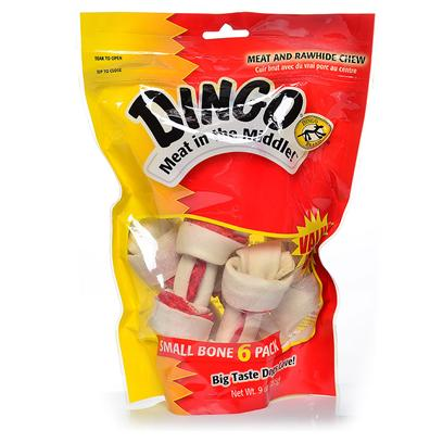 Dingo Brand Presents Dingo Bone Small 3.5' 6pc Value Pack - 6. The Original Meat in the Middle Chew. Real Chicken Jerky Wrapped in White Rawhide. [21000]