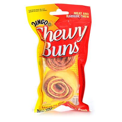 Dingo Brand Presents Chewy Buns 2.5oz-2 Pack. Unique Shape Delivers Longer Lasting Flavor and Fun! Hand-Rolled Rawhide and Real Meat • Innovative and Appealing Form Sized for all Dogs Excellent Incremental Purchase Opportunity for Dingo Consumers [21001]