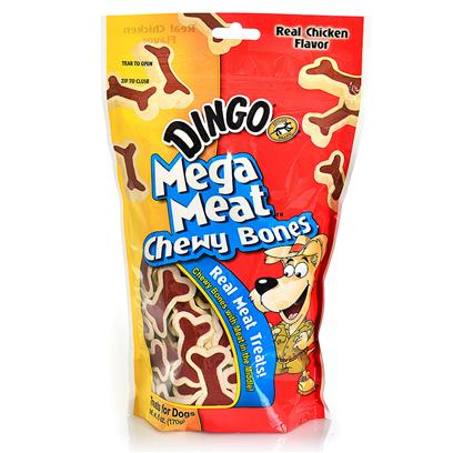 Dingo Brand Presents Dingo Mega Meat Bones 6oz Pouch. [21030]
