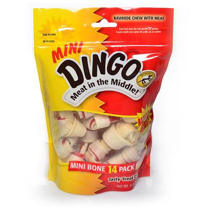 Dingo Brand Presents Dingo Mini Pack Sample Pack-30 Pieces. Dingo's Popular Mini Knotted Bone, Now in a New 5 Pack! Irresistible Combination of Real Meat Wrapped in Natural Rawhide  High in Protein and Low in Fat [21031]