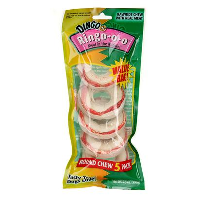 Dingo Brand Presents Dingo Ringo 3 Pack. Real Meat Wrapped in Compressed, Natural Rawhide Fun, Round Shape that Dogs of all Sizes Can't Resist Long Lasting for Aggressive Chewing Dogs Greater Consumer Value and Higher Retail Ring 5 Pk [21037]