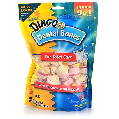 Dingo Brand Presents Dingo Mini Dental Value Bag 21 Pieces Pack. Irresistable Real Chicken Flavor. Value Bag 21 Pieces. [21214]
