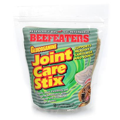 Beefeaters Presents Joint Care Senior Stix 50pk 50 Pack. We Love our Dogs. We Love to Cuddle them and Nuzzle Them. What we don't Love is their Breath! While Nothing can Replace a Good Tooth-Brushing Now and again, Beefeaters Dental Stix are the Perfect Treats to Complement a Dog's Regular Dental Routine. They are all Natural Rawhide Chews Made with Mint, Fluoride and Parsley Seed. The Hard Texture of the Chew is Beneficial in Reducing Plaque and Tartar Build-Up, while Fluoride is Proven to Aid in the Prevention of Cavities. Mint and Parsley Seed Minimize Odors in the Digestive System, which Helps Eliminate Bad Breath. [21276]