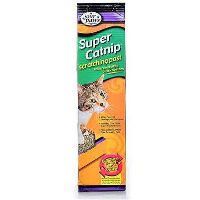 Four Paws Presents Super Catnip Scratching Post. Our Super Catnip Scratching Posts are Reversible, for Double the Life of the Product. Enclosed in Each is a 0.75 Oz Bag of Catnip for your Cat's Added Enjoyment. [21289]