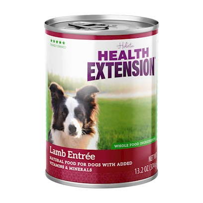 Health Extension Presents Health Extension Meaty Mix Chicken-13.2oz Cans/Case of 12. Our Health Extension Lamb Entree is an Excellent Source of High Quality Protein, Made with Real New Zealand Lamb. There are no Growth Hormones or Steroids. Lamb is a Nice Option for Dogs that Need a High Quality Protein but have Allergies to Other Commonly Used Protein Sources. Dogs that Prefer Canned Food will Benefit from all the Real-Food Ingredients. No by-Products no Glutens no Preservatives no Artificial Colors 5.5oz/24pack [21294]