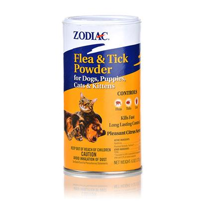 Wellmark Presents Zodiac Flea and Tick Powder for Dogs Puppies Cats Kittens 6oz. Zodiac Flea and Tick Powder for Dogs and Cats Kills Fleas, Ticks and Lice Fast for Dogs and Cats 12 Weeks and Older. It is a Dry Alternative to Topical Sprays and Leaves a Pleasant Citrus Scent. It Comes with a Convenient Shaker Top for Easy Application. To Control Fleas, Ticks, and Lice on Dogs and Cats, Dust Powder Liberally over the Entire Body. Rub Dust into Hair and Around the Feet, Pads, and Between the Toes so that they are Well Treated. Take Care not to Put the Powder in Animal's Eyes, Nose, or Mouth. Do not Repeat Treatment for One Week. Dust Bedding, Kennel, and Sleeping Area Regularly. [21323]