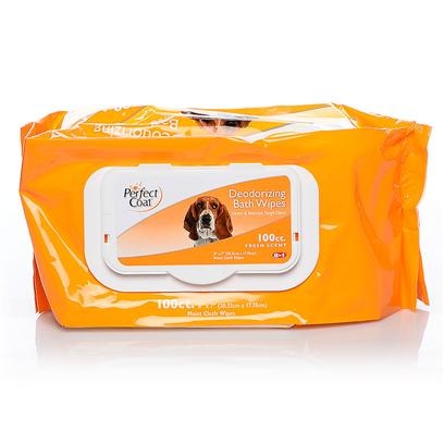 8 in 1 Presents Perfect Coat Bath Wipes Deod Dog 8in1 24pk. Perfect Coat Bath Wipes are the Easiest and Quickest Way to Keep your Pet Clean and Smelling Fresh! Specially Formulated to Leave Skin & Coat Cleany & Shiny. Safely Eliminates Tough Pet Odors. Enriched with Moisturizing Lanolin Conditioners to Leave Skin and Coat Healthy. Fresh Scented Alcohol Free Formula is Mild Enough for Everyday Use. Super Premium Cloth Material is Durable yet Gentle on Skin. Reduces Static Buildup Froms Pet's Coat. Wipe Size 7' X 8' [21328]