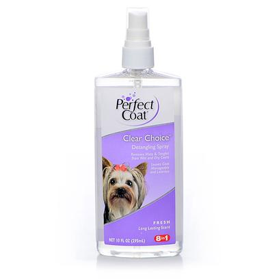 8 in 1 Presents Perfect Coat Clear Choice Groom Spray 10oz 8in1. Helps Eliminate Mats and Tangles from Wet or Dry Coats. Leaves Coat Conditioned, Manageable and Smelling Clean. Ideal for in Between Baths. [21332]