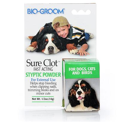 Bio Groom Presents Sure-Clot Syptic Powder 14gm Bio Sure Clot Powd. Sure Clot is a New Specially Developed Formula by Bio-Groom to Help Stop Bleeding from Clipping Nails, Trimming Beaks, and on Minor Cuts. Sure Clot's Quality and Performance is Sure to Satisfy. [21339]