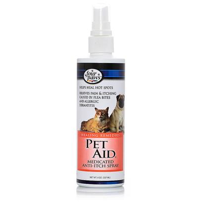 Four Paws Presents Pet Aid Medicated Anti Itch Spray 8oz. Four Paws Pet Aid Medicated Anti-Itch Spray Provides Immediate Relief from Pain and Itching Caused by Flea Bites and Allergic Dermatitis. Helps Heal Hot Spots and does not Sting when Applied to your Pet. 8 Oz. [21354]